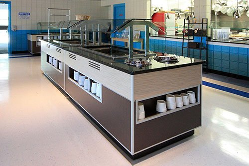 School cafeteria - commercial remodeling construction project by in-house design build firm in RI