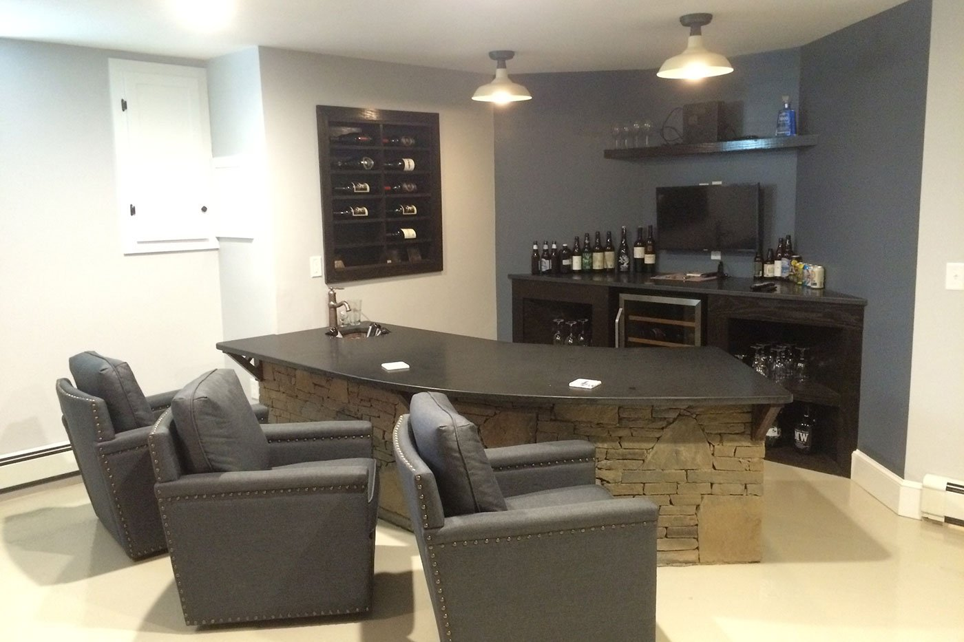 1 Finished basement by home renovation, in-house design build firm in RI`